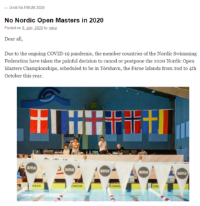 Nordisk mesterskap 2020 på Færøyene avlyses på grunn av Covid-19